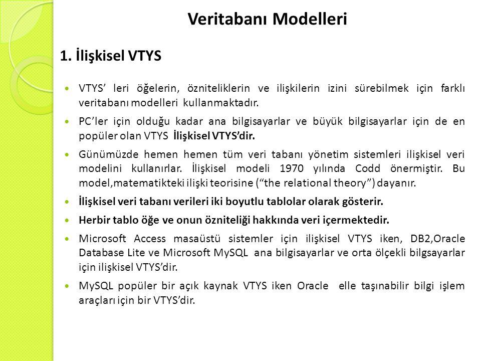 Veritabanı Modelleri 1. İlişkisel VTYS