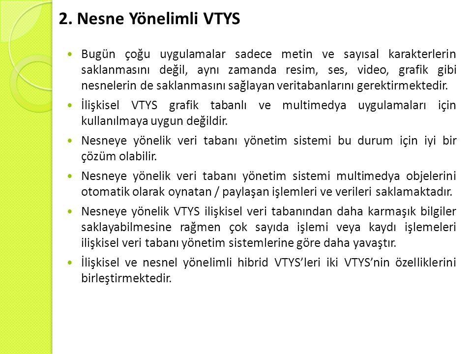 2. Nesne Yönelimli VTYS