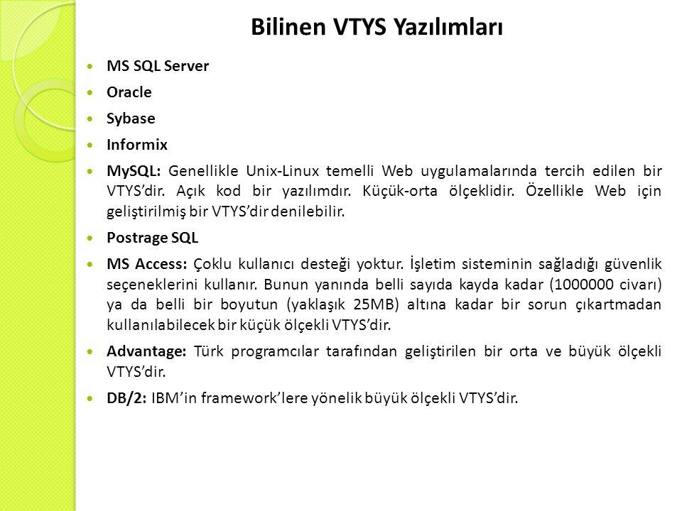 Bilinen VTYS Yazılımları