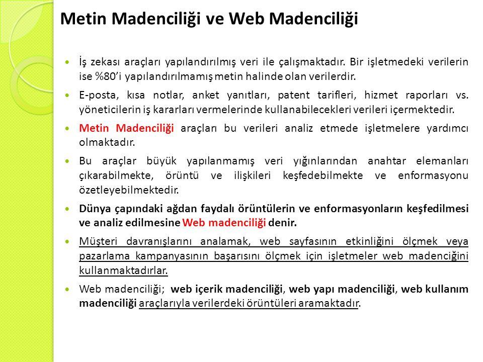 Metin Madenciliği ve Web Madenciliği