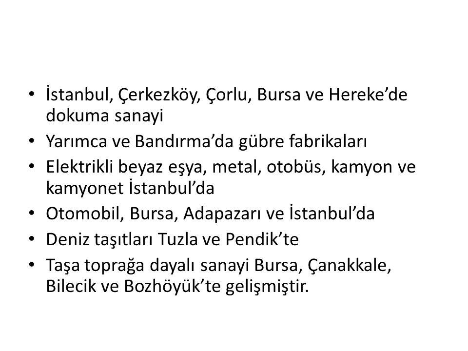 İstanbul, Çerkezköy, Çorlu, Bursa ve Hereke'de dokuma sanayi