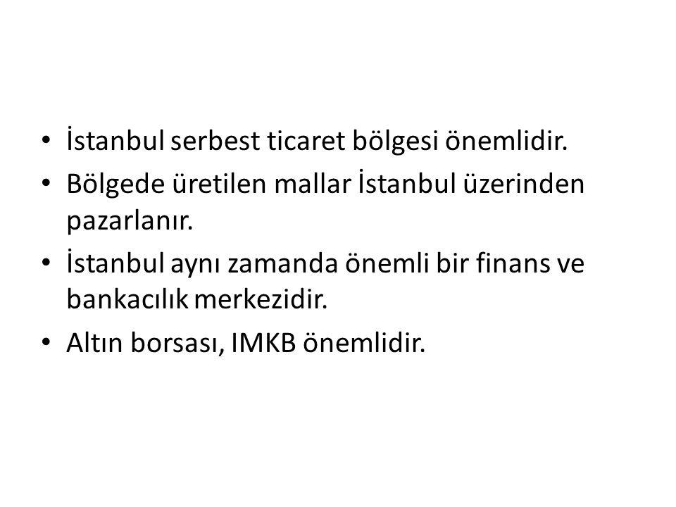 İstanbul serbest ticaret bölgesi önemlidir.
