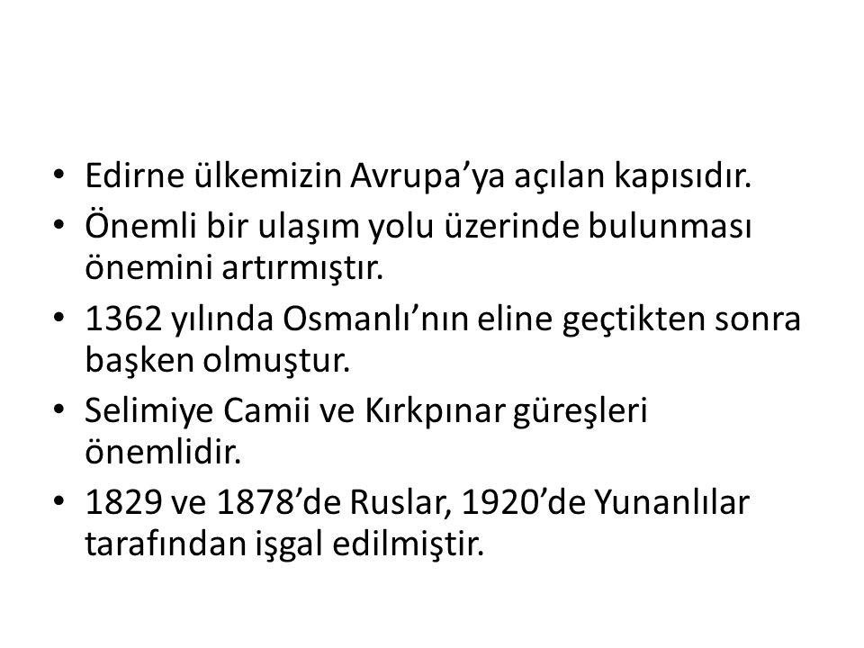 Edirne ülkemizin Avrupa'ya açılan kapısıdır.