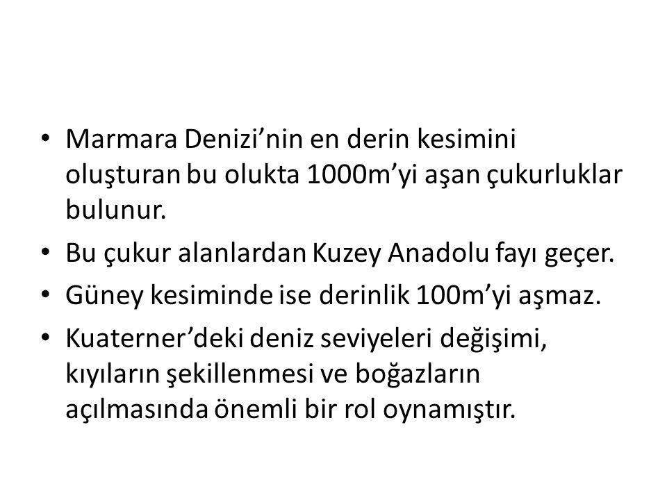 Marmara Denizi'nin en derin kesimini oluşturan bu olukta 1000m'yi aşan çukurluklar bulunur.