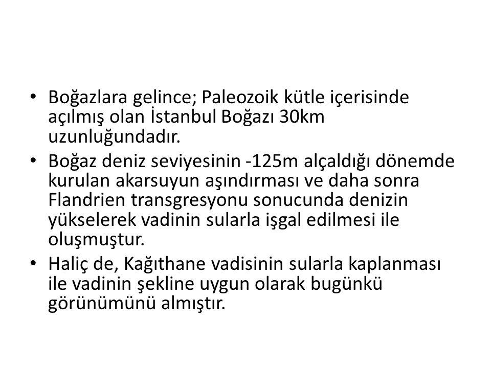 Boğazlara gelince; Paleozoik kütle içerisinde açılmış olan İstanbul Boğazı 30km uzunluğundadır.
