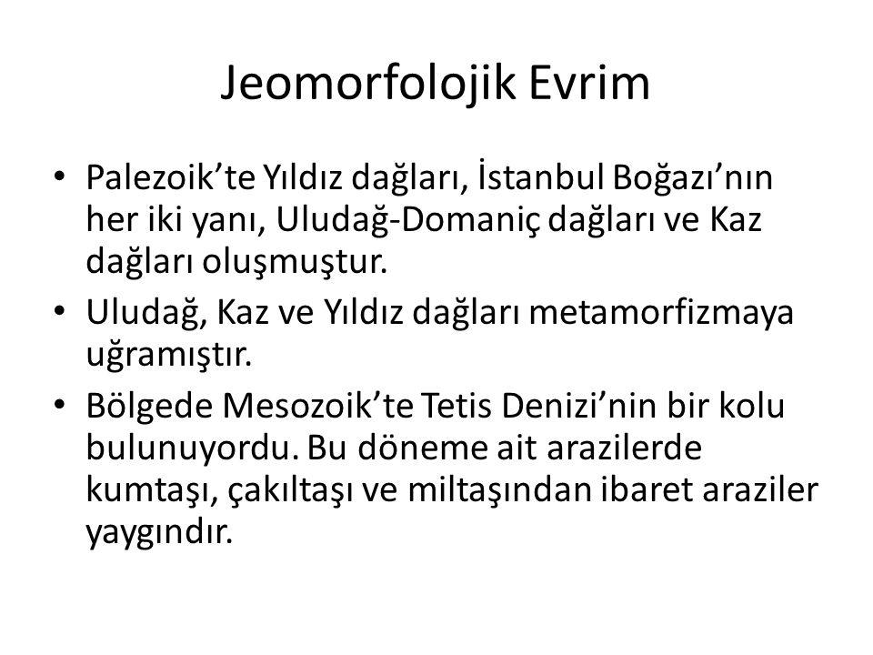 Jeomorfolojik Evrim Palezoik'te Yıldız dağları, İstanbul Boğazı'nın her iki yanı, Uludağ-Domaniç dağları ve Kaz dağları oluşmuştur.