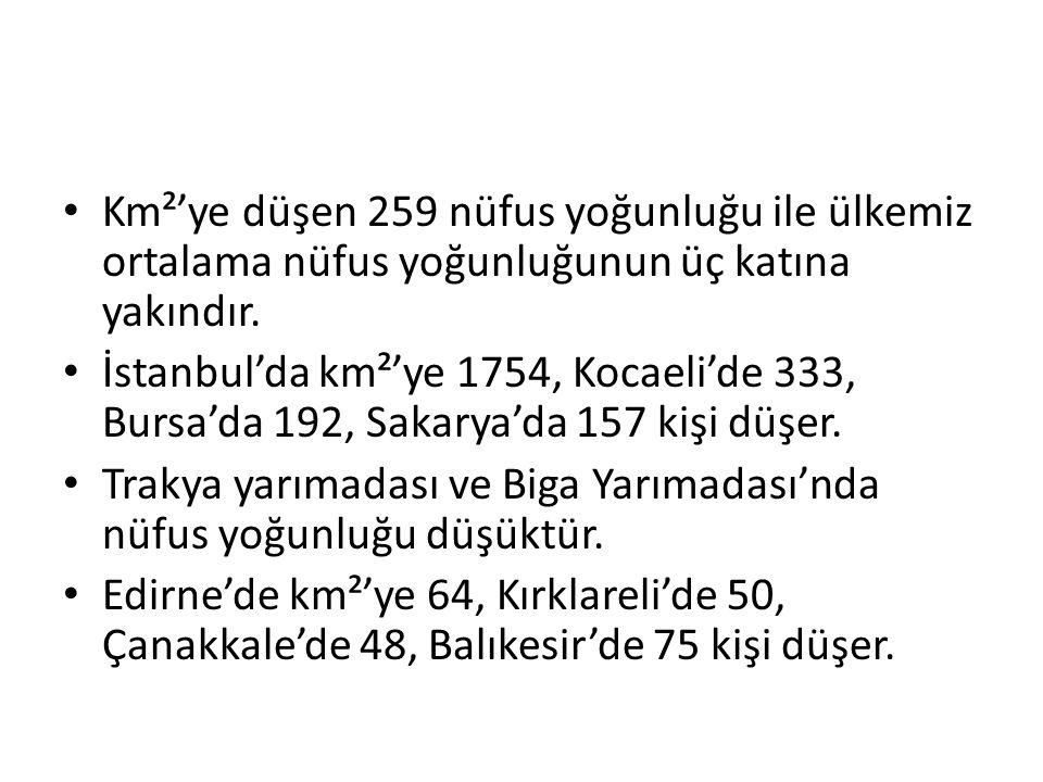 Km²'ye düşen 259 nüfus yoğunluğu ile ülkemiz ortalama nüfus yoğunluğunun üç katına yakındır.
