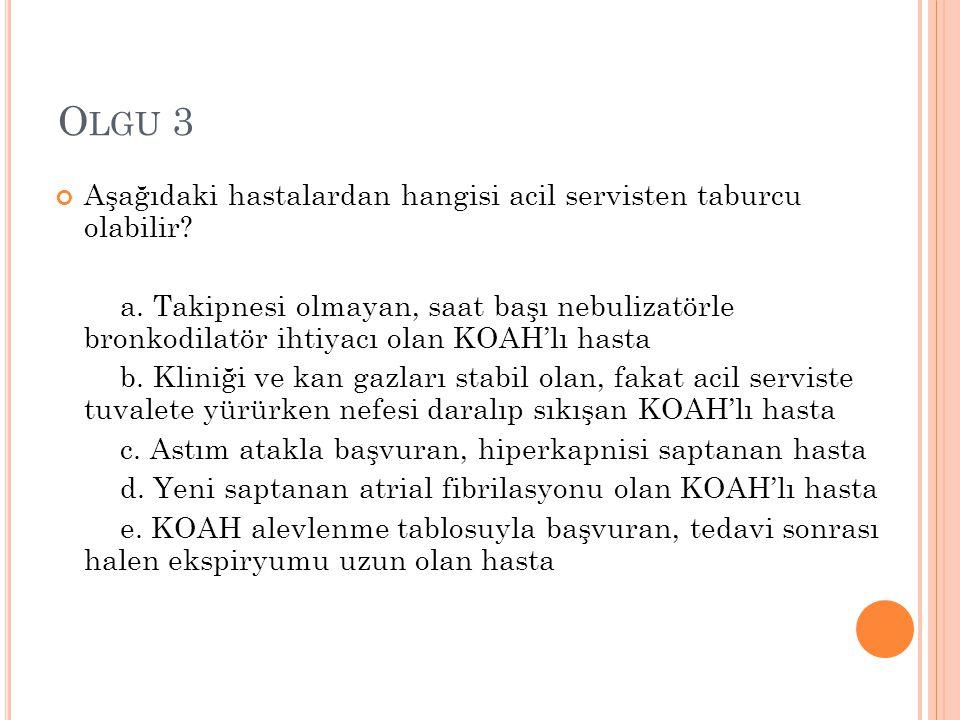 Olgu 3 Aşağıdaki hastalardan hangisi acil servisten taburcu olabilir