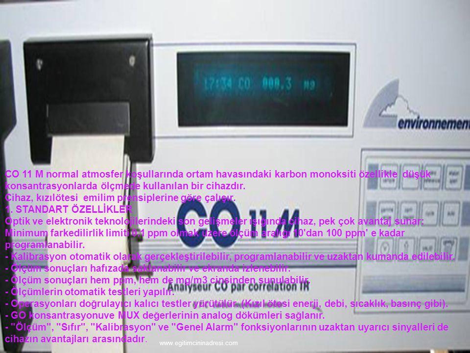 CO 11 M normal atmosfer koşullarında ortam havasındaki karbon monoksiti özellikle düşük konsantrasyonlarda ölçmede kullanılan bir cihazdır. Cihaz, kızılötesi emilim prensiplerine göre çalışır. 1. STANDART ÖZELLİKLER Optik ve elektronik teknolojilerindeki son gelişmeler ışığında cihaz, pek çok avantaj sunar: