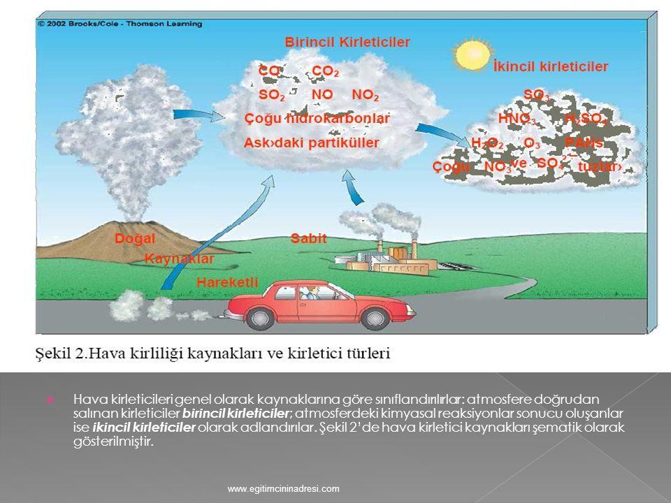 Hava kirleticileri genel olarak kaynaklarına göre sınıflandırılırlar: atmosfere doğrudan salınan kirleticiler birincil kirleticiler; atmosferdeki kimyasal reaksiyonlar sonucu oluşanlar ise ikincil kirleticiler olarak adlandırılar. Şekil 2'de hava kirletici kaynakları şematik olarak gösterilmiştir.