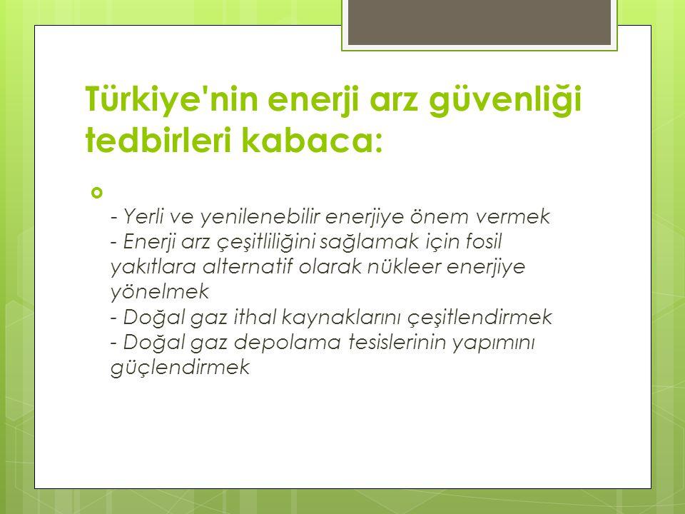 Türkiye nin enerji arz güvenliği tedbirleri kabaca: