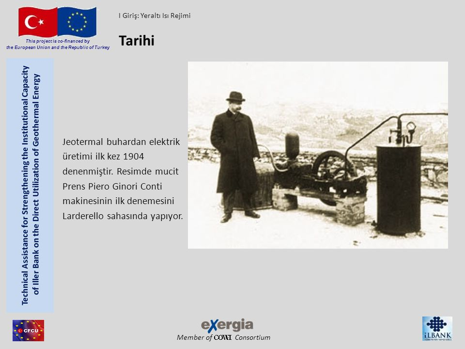 Tarihi Jeotermal buhardan elektrik üretimi ilk kez 1904