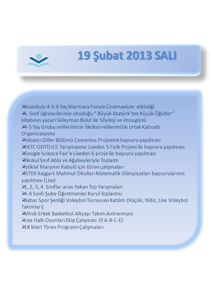 19 Şubat 2013 SALI Anaokulu 4-5-6 Yaş Marmara Forum Cinemaxium etkinliği.