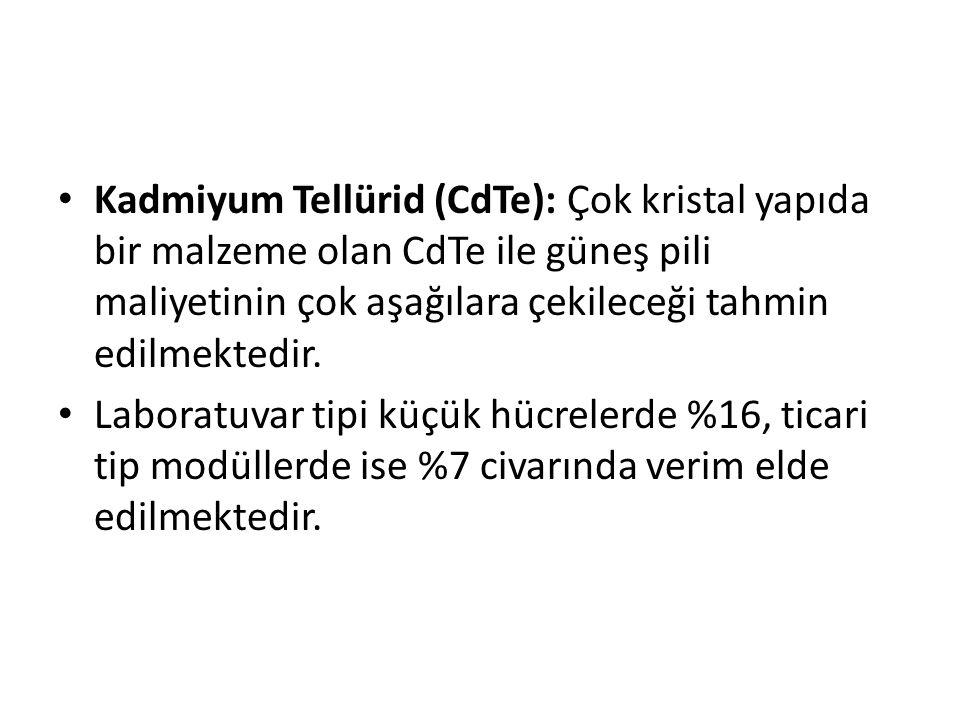 Kadmiyum Tellürid (CdTe): Çok kristal yapıda bir malzeme olan CdTe ile güneş pili maliyetinin çok aşağılara çekileceği tahmin edilmektedir.