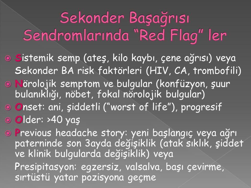 Sekonder Başağrısı Sendromlarında Red Flag ler