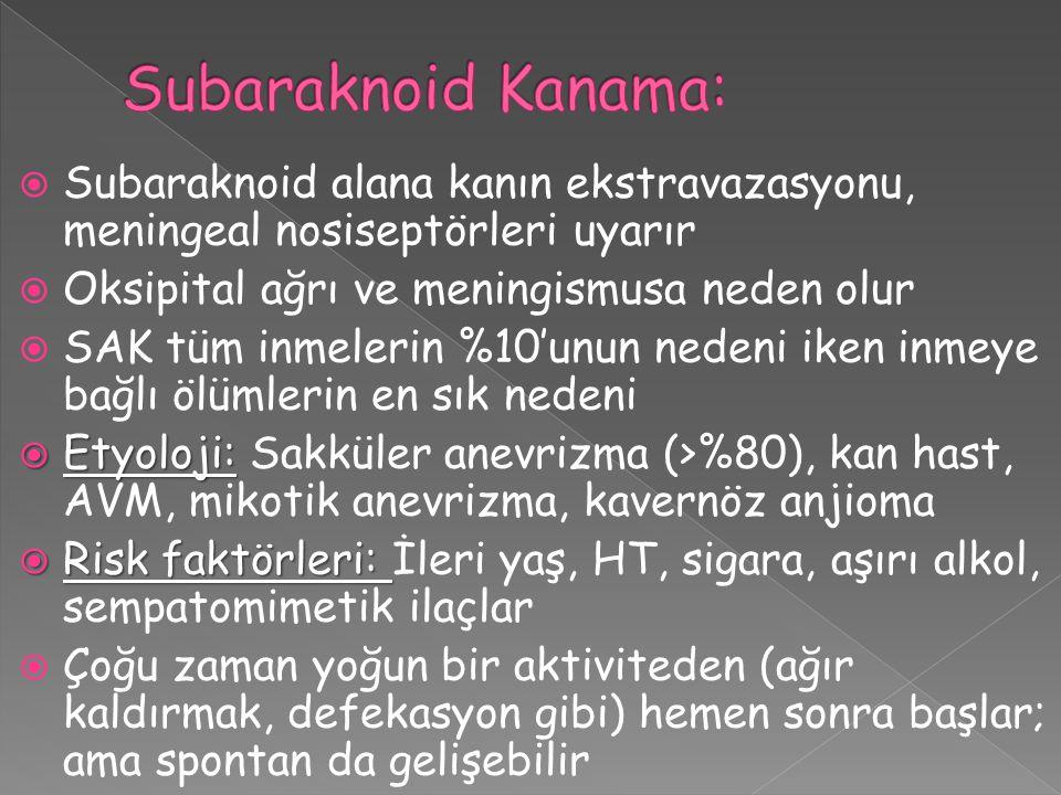 Subaraknoid Kanama: Subaraknoid alana kanın ekstravazasyonu, meningeal nosiseptörleri uyarır. Oksipital ağrı ve meningismusa neden olur.