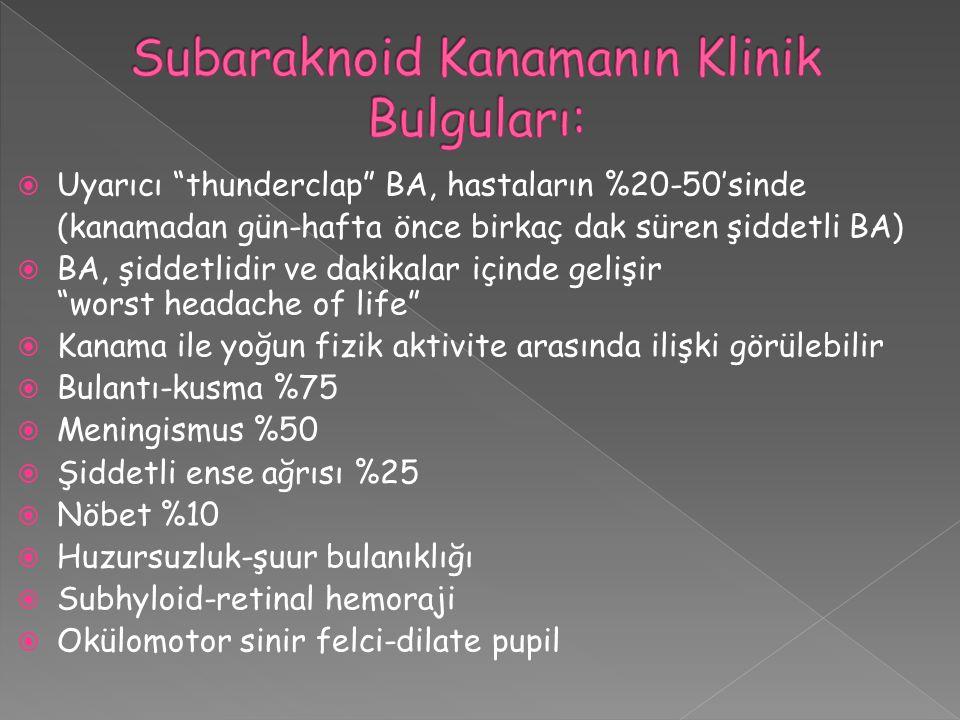 Subaraknoid Kanamanın Klinik Bulguları: