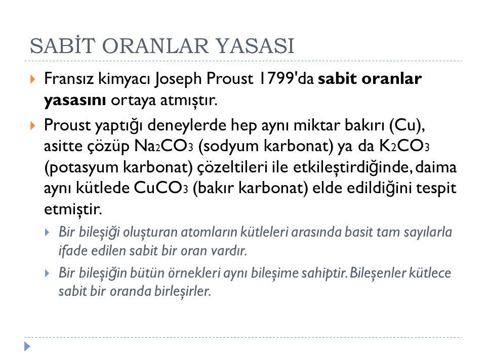 SABİT ORANLAR YASASI Fransız kimyacı Joseph Proust 1799 da sabit oranlar yasasını ortaya atmıştır.