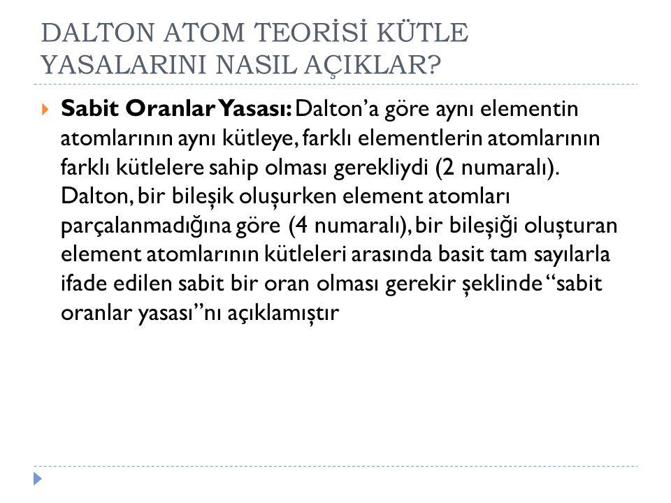 DALTON ATOM TEORİSİ KÜTLE YASALARINI NASIL AÇIKLAR