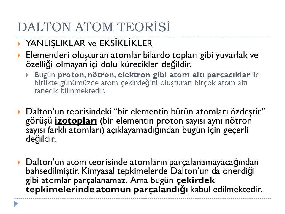 DALTON ATOM TEORİSİ YANLIŞLIKLAR ve EKSİKLİKLER