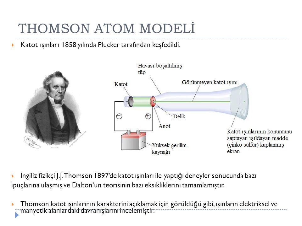THOMSON ATOM MODELİ Katot ışınları 1858 yılında Plucker tarafından keşfedildi.