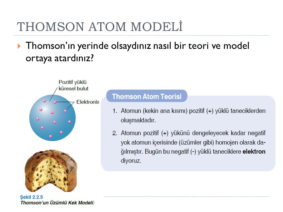 THOMSON ATOM MODELİ Thomson'ın yerinde olsaydınız nasıl bir teori ve model ortaya atardınız