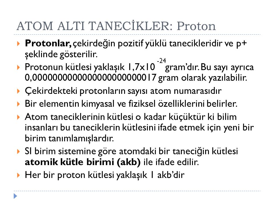 ATOM ALTI TANECİKLER: Proton