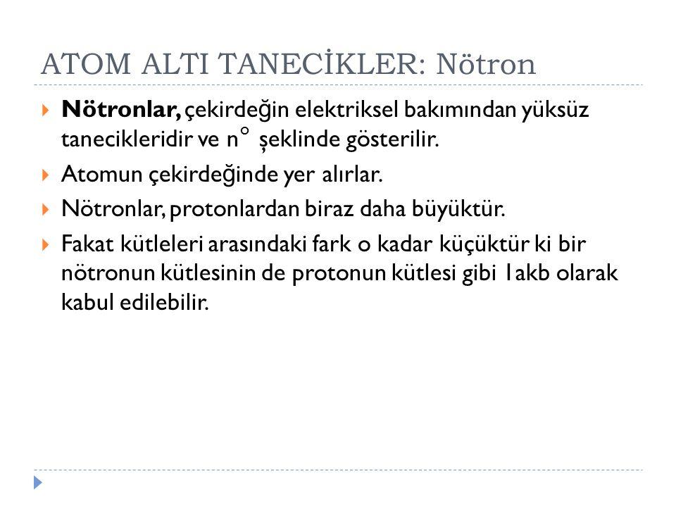 ATOM ALTI TANECİKLER: Nötron