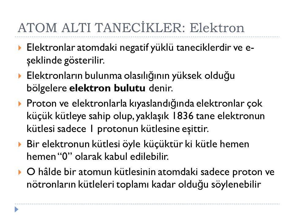 ATOM ALTI TANECİKLER: Elektron
