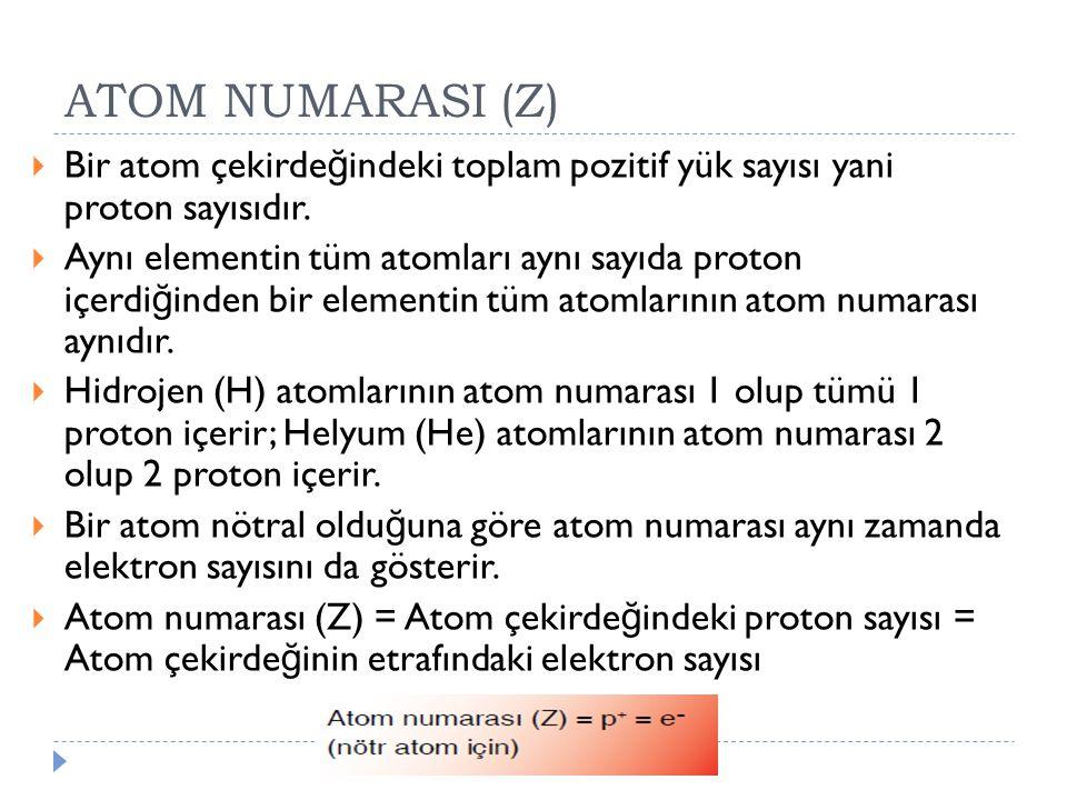 ATOM NUMARASI (Z) Bir atom çekirdeğindeki toplam pozitif yük sayısı yani proton sayısıdır.