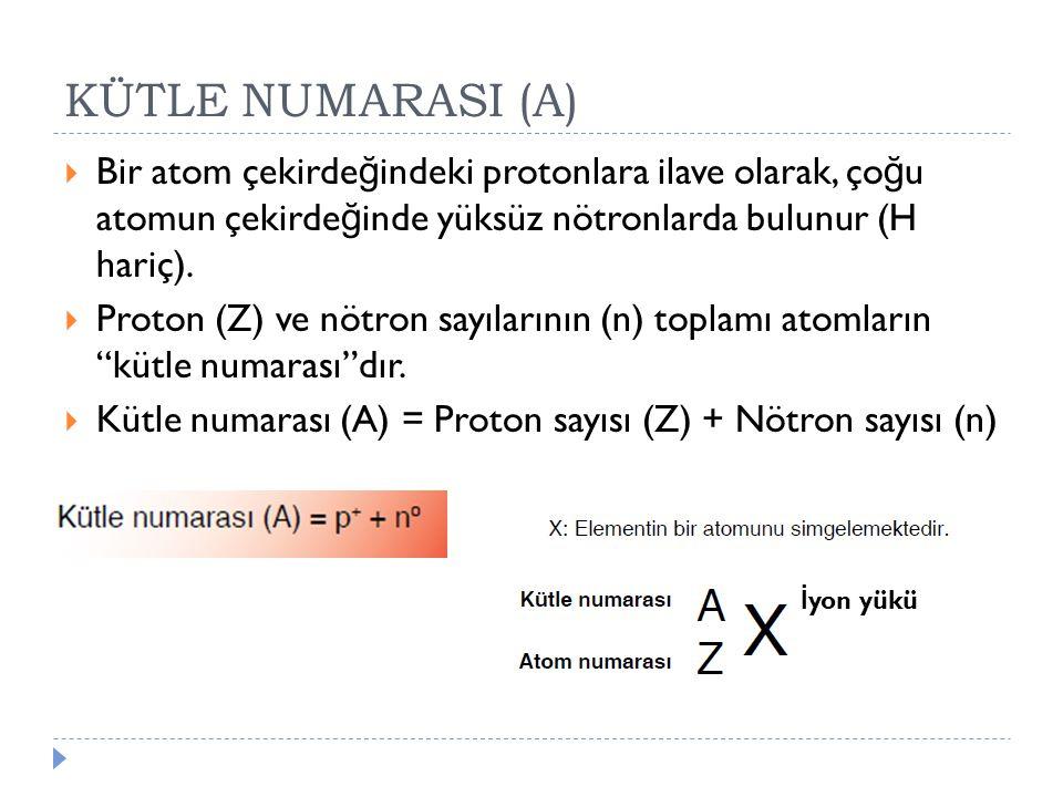 KÜTLE NUMARASI (A) Bir atom çekirdeğindeki protonlara ilave olarak, çoğu atomun çekirdeğinde yüksüz nötronlarda bulunur (H hariç).