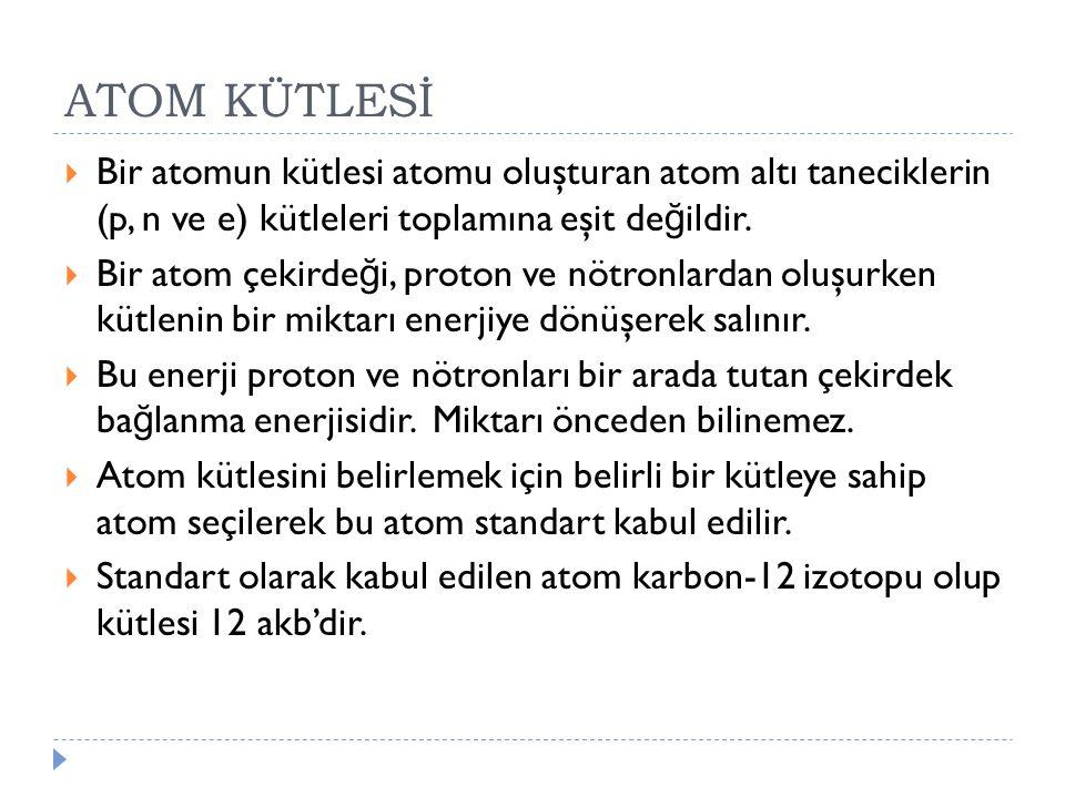 ATOM KÜTLESİ Bir atomun kütlesi atomu oluşturan atom altı taneciklerin (p, n ve e) kütleleri toplamına eşit değildir.