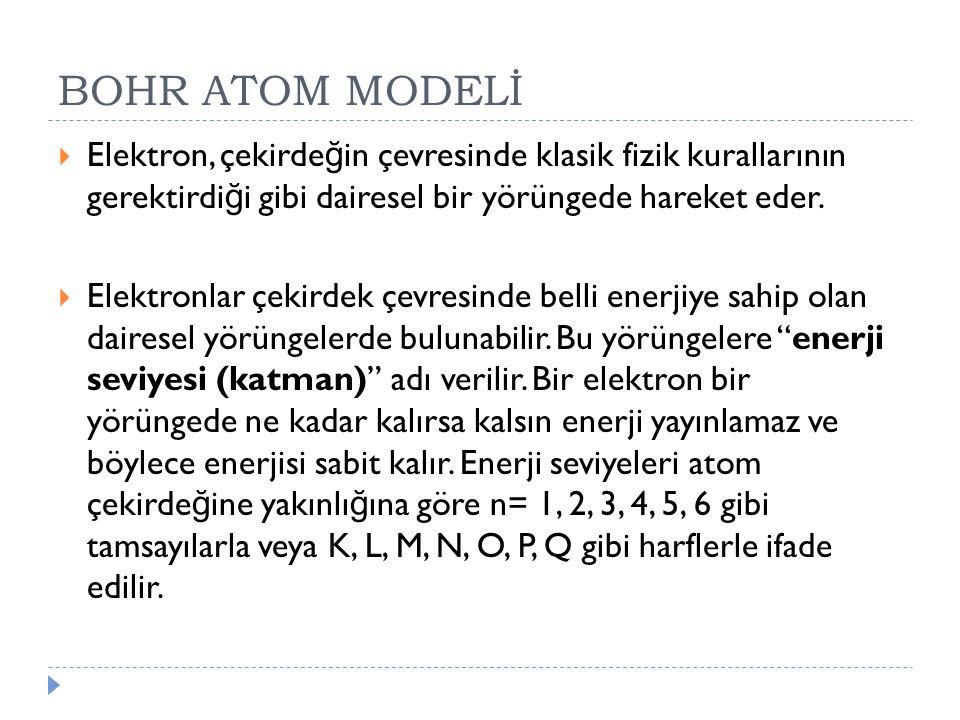 BOHR ATOM MODELİ Elektron, çekirdeğin çevresinde klasik fizik kurallarının gerektirdiği gibi dairesel bir yörüngede hareket eder.