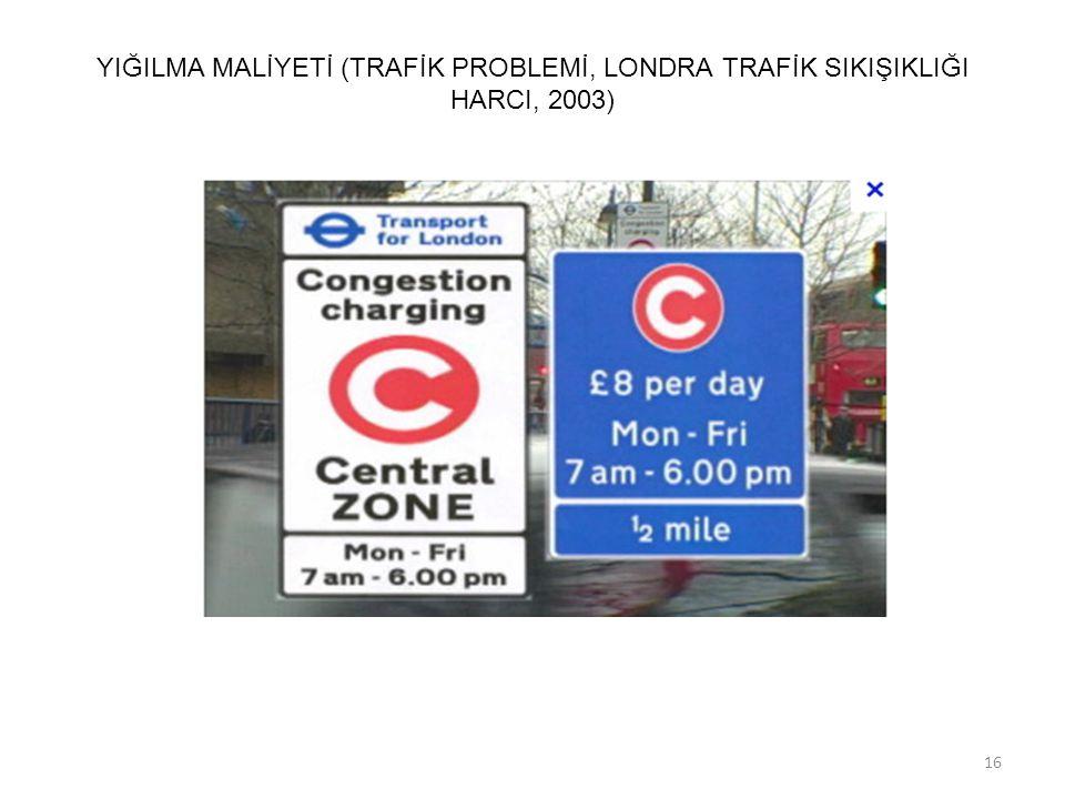 YIĞILMA MALİYETİ (TRAFİK PROBLEMİ, LONDRA TRAFİK SIKIŞIKLIĞI HARCI, 2003)