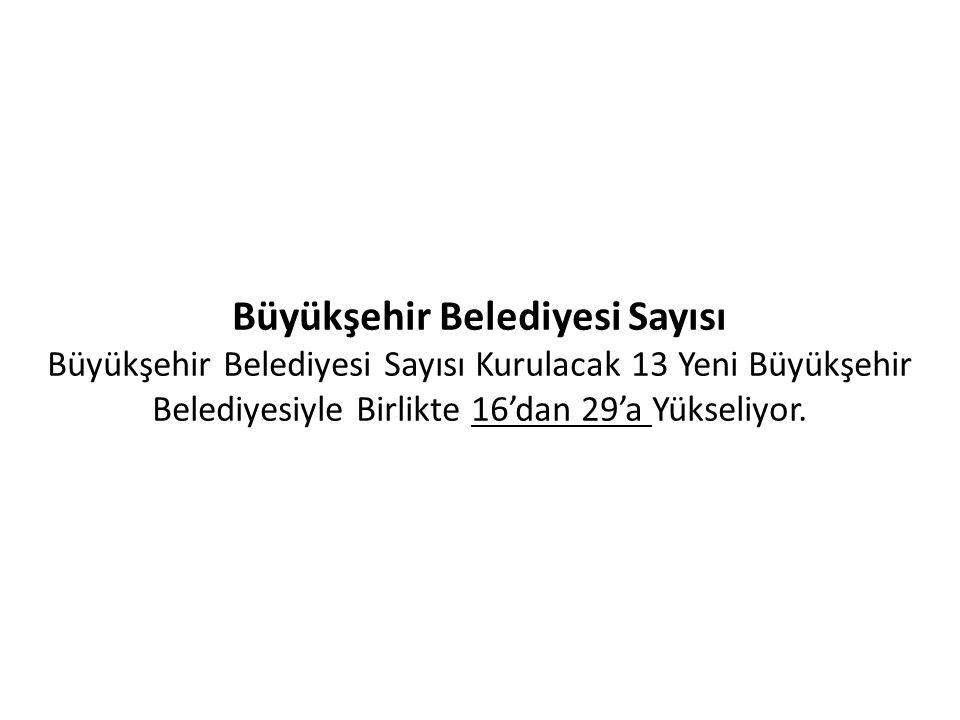 Büyükşehir Belediyesi Sayısı Büyükşehir Belediyesi Sayısı Kurulacak 13 Yeni Büyükşehir Belediyesiyle Birlikte 16'dan 29'a Yükseliyor.