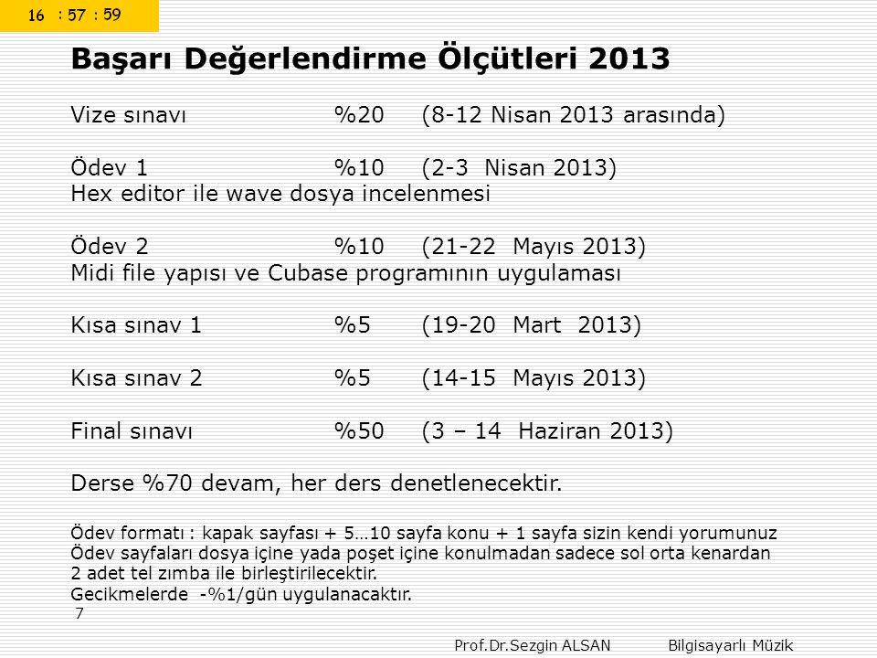 Başarı Değerlendirme Ölçütleri 2013