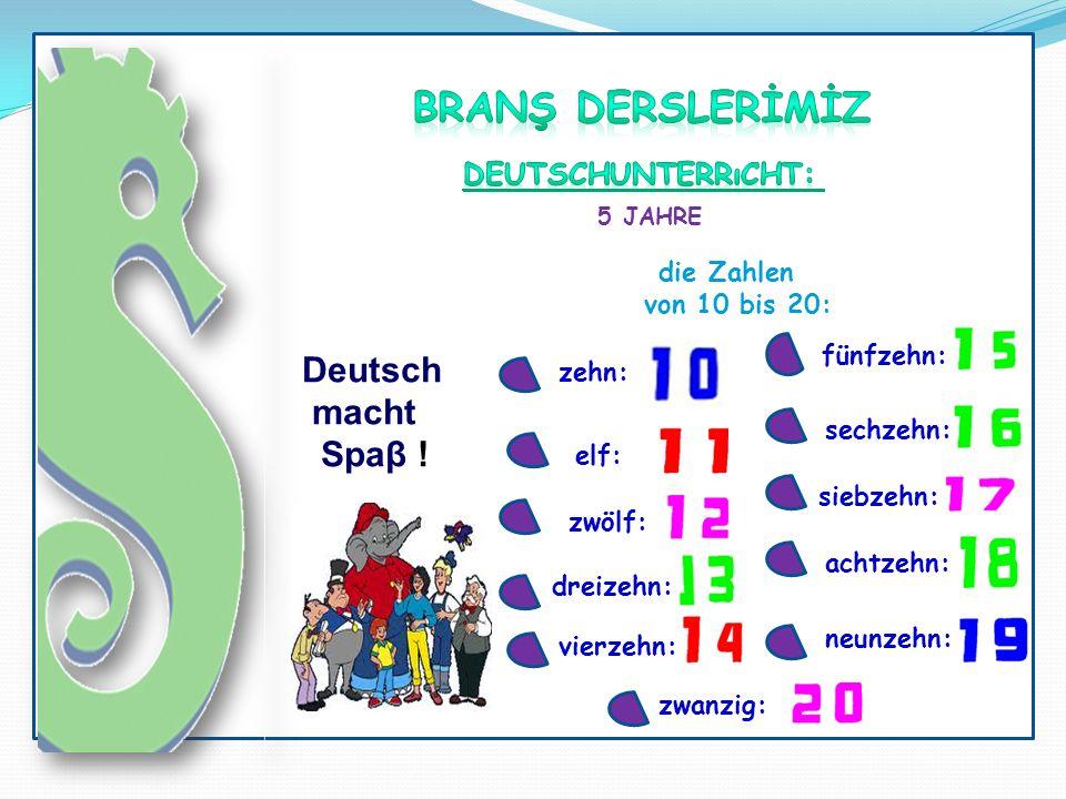 BRANŞ DERSLERİMİZ Deutsch macht Spaβ ! Deutschunterrıcht: die Zahlen