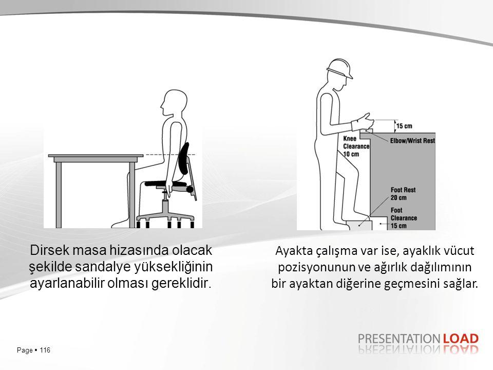 Dirsek masa hizasında olacak şekilde sandalye yüksekliğinin ayarlanabilir olması gereklidir.