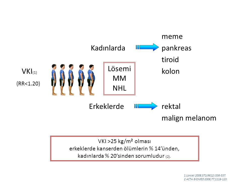 meme Kadınlarda pankreas tiroid VKI(1) kolon Erkeklerde rektal Lösemi