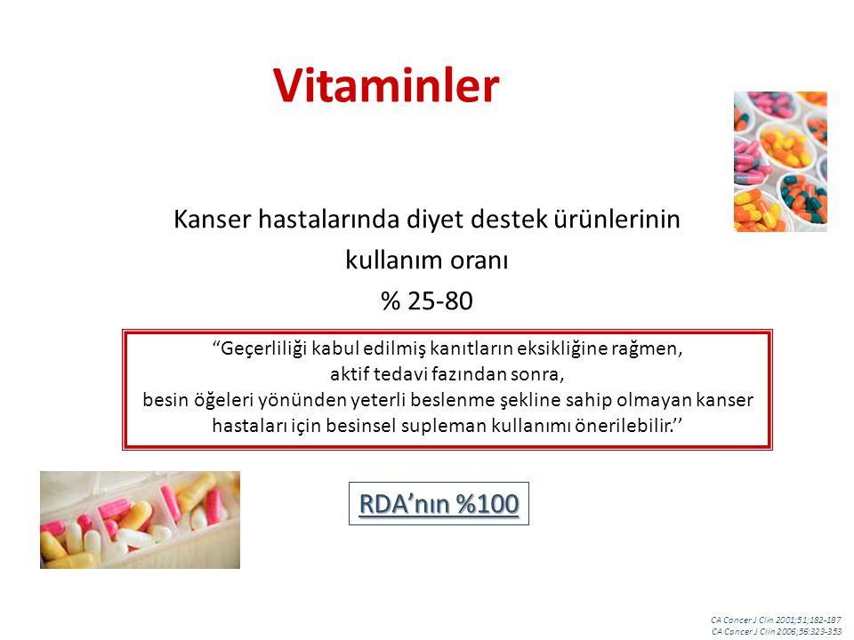 Vitaminler Kanser hastalarında diyet destek ürünlerinin kullanım oranı