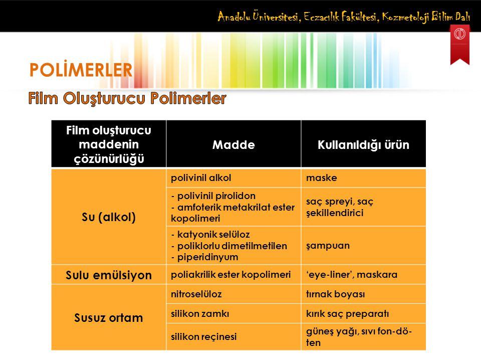 Film oluşturucu maddenin çözünürlüğü