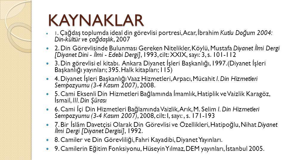KAYNAKLAR 1. Çağdaş toplumda ideal din görevlisi portresi, Acar, İbrahim Kutlu Doğum 2004: Din- kültür ve çağdaşlık, 2007.