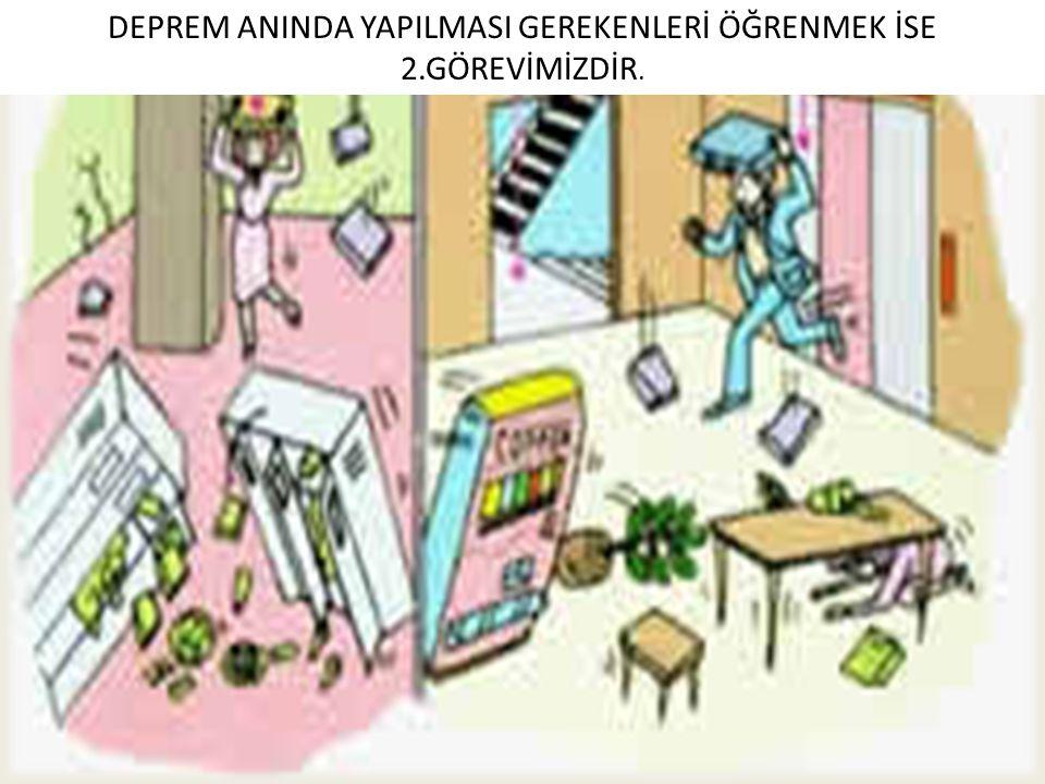 DEPREM ANINDA YAPILMASI GEREKENLERİ ÖĞRENMEK İSE 2.GÖREVİMİZDİR.