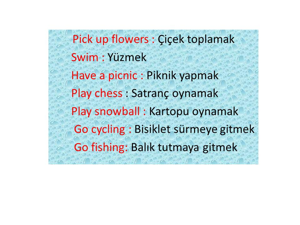Pick up flowers : Çiçek toplamak
