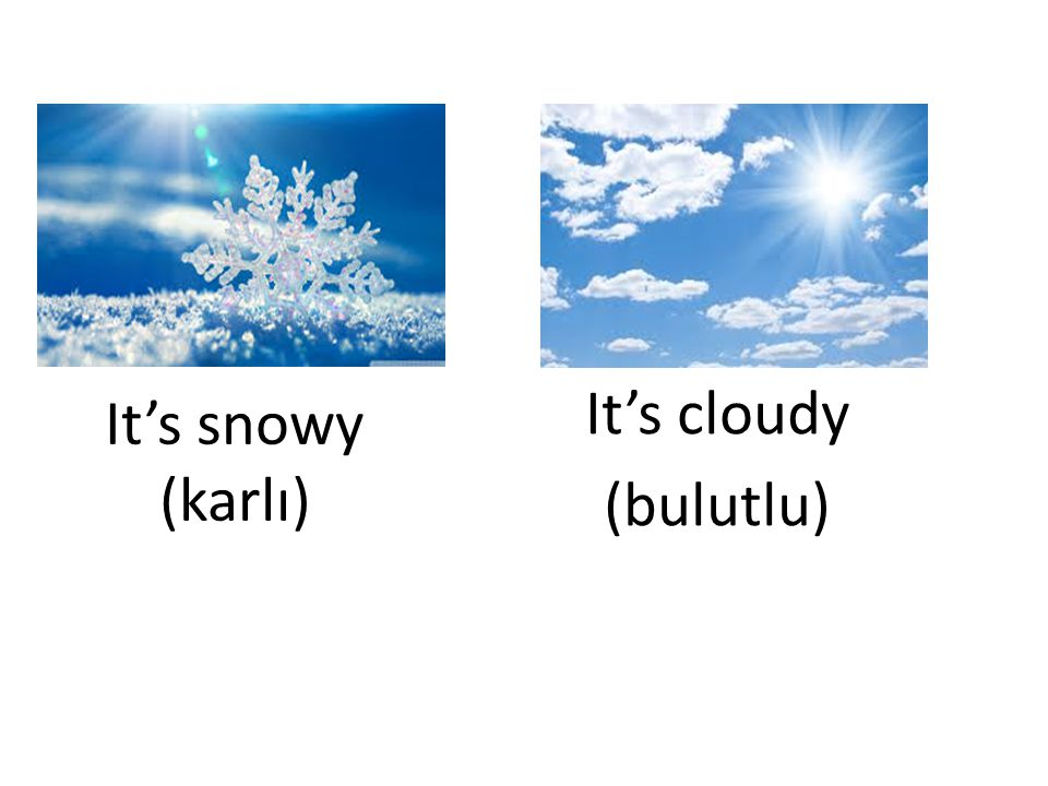 It's cloudy (bulutlu) It's snowy (karlı)