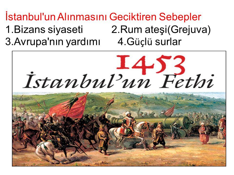 İstanbul un Alınmasını Geciktiren Sebepler