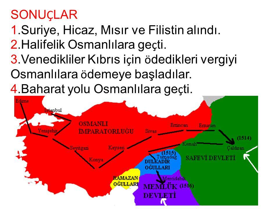 SONUÇLAR 1.Suriye, Hicaz, Mısır ve Filistin alındı. 2.Halifelik Osmanlılara geçti.