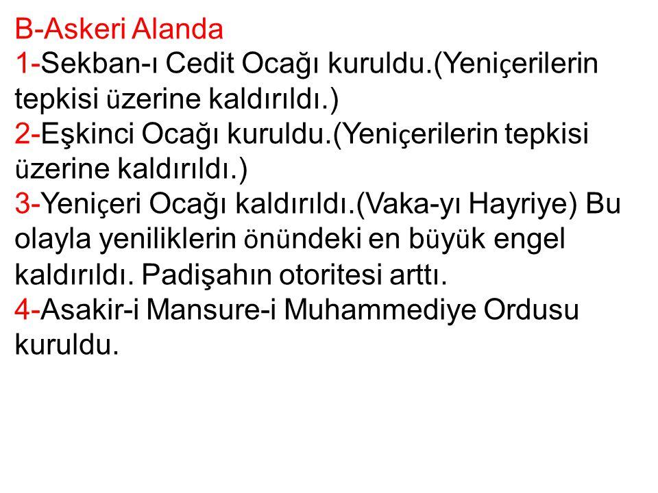 B-Askeri Alanda 1-Sekban-ı Cedit Ocağı kuruldu.(Yeniçerilerin tepkisi üzerine kaldırıldı.)