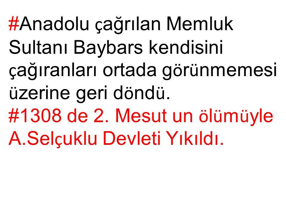 #Anadolu çağrılan Memluk Sultanı Baybars kendisini çağıranları ortada görünmemesi üzerine geri döndü.
