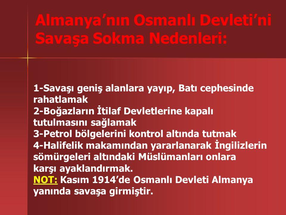 Almanya'nın Osmanlı Devleti'ni Savaşa Sokma Nedenleri: